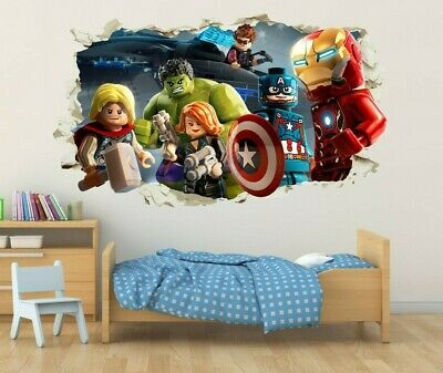 Lego Avengers Wall Hole logo Wall Decal Decor Bedroom Stickers Vinyl 3D  - Lego Decor