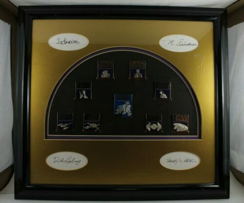 Disney LE 50 Autographed Framed 9 Pin Set Star Wars Weekend 2001 Mickey R2D2