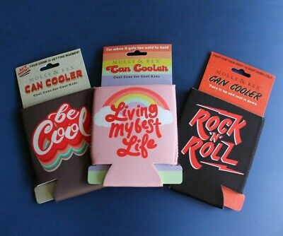Can Cooler Coozie Lot x 3 pc - Retro Look - Rock N' Roll / Living My Best