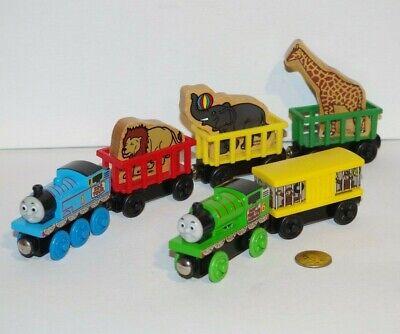 Thomas & Friends Wooden Railway Train Tank Zoo Tour Lot Percy Monkey Car Circus