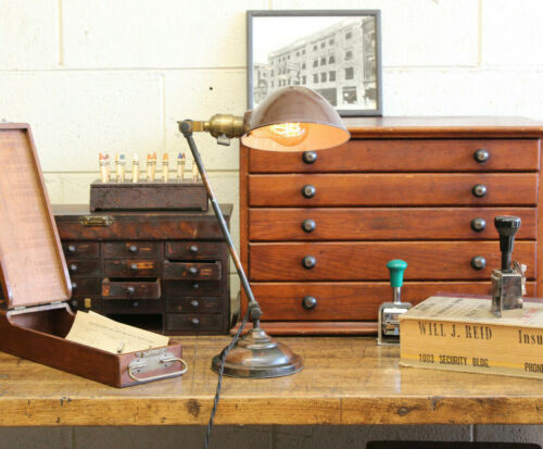 Vtg Antique Industrial Copper Flash Faries Japanned Desk Table Lamp Light 1910s