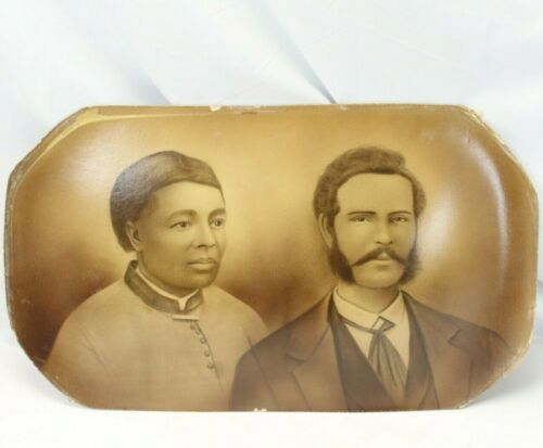 Charcoal Portrait African American Woman & White Man1850