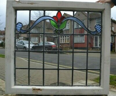 Frame 615 x 551mm. Leaded light stained glass window sash / suncatcher. R805e