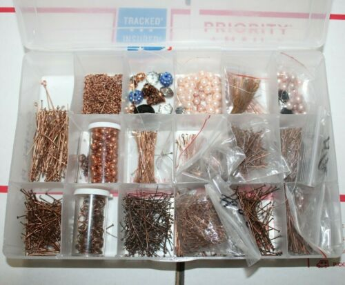 Jewelry Making Supplies Craft Lot - Copper Pins + Beads + Rings + Storage Case