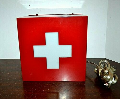 Metal Emergency First Aid Red Cross Lighted Electric Box