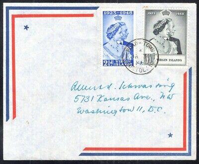 Kenr2: Virgin Islands 1948 Silver Wedding Airmail Cover