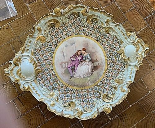 """Extraordinary Antique French Hand Painted Porcelain Picture Platter.  16"""" x 13"""""""