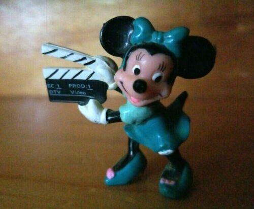 Vintage Walt Disney Minnie Mouse w Movie Clapper Chalk Board PVC Mini Figure