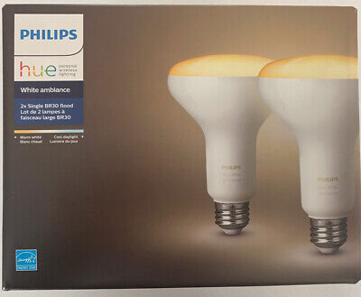 Philips - Hue White Ambiance BR30 Bluetooth Smart LED Bulb (2-Pack)