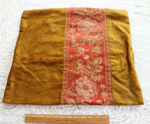 """Antique French c1870 Pillow Cover~ Red & Olive Green Silk Jacquard~21""""X 2"""""""