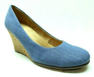Aerosoles 6.5 Blue Chambray Fabric Slip On Wedge Heel Dress Shoes Pumps
