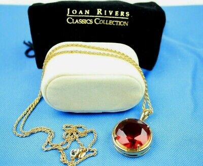 Vintage Joan Rivers Classic Collection Red Glass Faux Tourmaline Pendant In Box