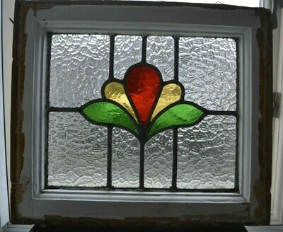 Frame 435 x 387mm leaded light stained glass window sash / suncatcher. R1016e.