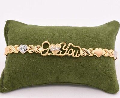 "7.5"" I Love You Kisses Hearts Bracelet 14K Gold Clad Silver 925 XOXO Valentine"