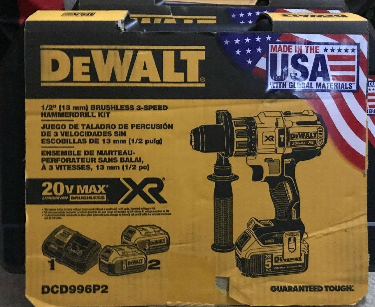 "DeWalt DCD996P2 20V XR 1/2"" Brushless 3 Speed Hammerdrill K"