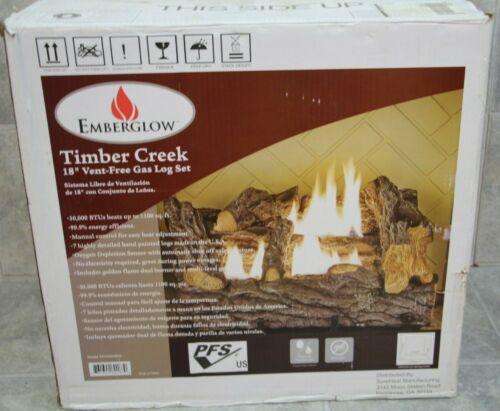 NEW Everglow TCVFM18NL 18 in.Timber Creek Vent Free Dual Fuel Gas Log Set