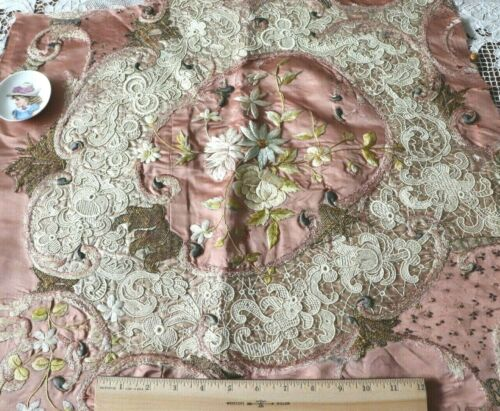 "Antique c1870 Victorian Silk Society Work & Handmade Lace Fabric~L-21""X W-23"""
