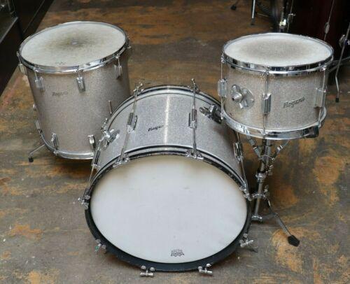 Rogers 3pc Cleveland Era Drum Set Silver Sparkle Vintage 1960