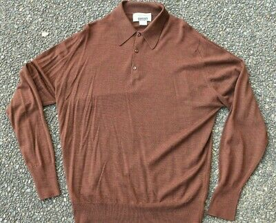 *JOHN SMEDLEY* Brown Melange Wool Rugby Sweater - MADE IN ENGLAND - L