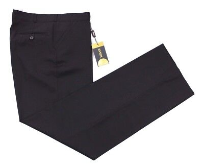 NWT $499 VERSACE Italy Solid Black Wool Flat Front Pants 56 Eu 40 Fits 38 us