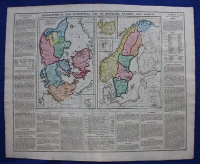 Original antique map DENMARK, SWEDEN, NORWAY, ICELAND, Lavoisne, 1828