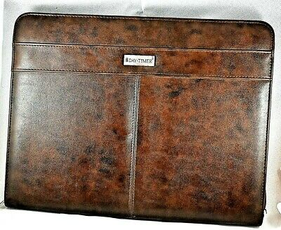 Day-timer Classic Zippered Brown Faux Leather Notepadorganizer Cover 13x10