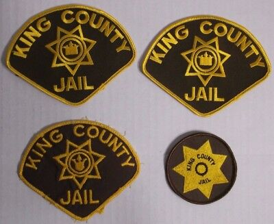 Lot of 4 King County Jail Washington Police Patches Sew On Gold Star Brown Cop
