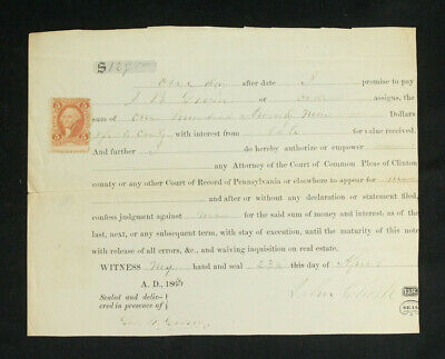 John Bullock Clark Confederate Congress Member Signed Document w/Revenue Stamp