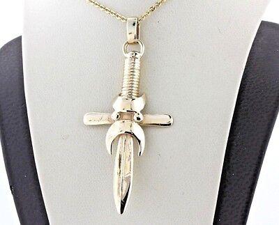 - Vintage Handforged 14K Yellow Gold Sword & Religious Cross Charm Pendant