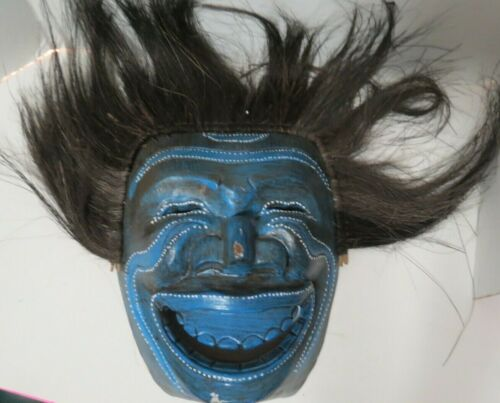Vintage Hand Carved Kabuki Style Wooden Mask With Hair Wall Hanging