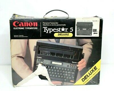 Canon Electronic Typestar 5 Deluxe Black Typewriter With Ac Adapter Vintage