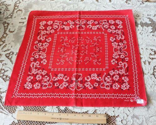 "Vintage c1950-1960 Red Floral & Bows Cotton Bandana~L-18"" X W-19"""