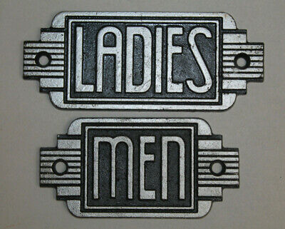 Vintage Style Ladies Men Restroom Signs Cast Iron Gas Station Garage Man Cave #1
