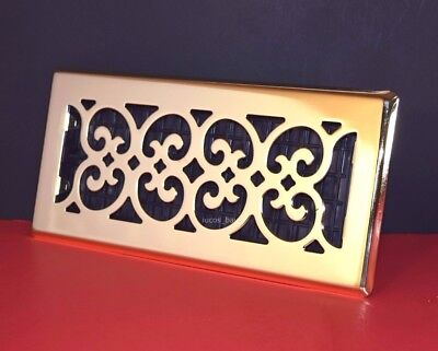 Decor-Grates-Floor-Register-Air-Vent-Scroll Plated Satin Brass  2x12 inch Brass Decorative Floor Register Vent