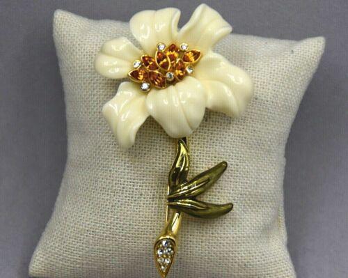 Nolan Miller Gold Tone White Lucite Flower Brooch