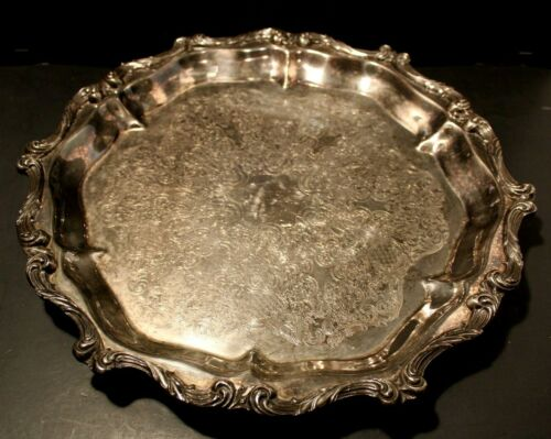 "Wallace ""La Reine"" Pattern Footed Round Silverplate Tray #1114 Vintage."