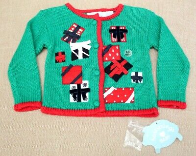 NEW Hartstrings BABY CHRISTMAS SWEATER sz 6-9 Months Girls Green Red Gift NWT