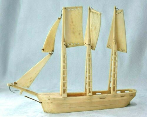 Antique Maritime Bos Taurus Horn Soldier Folk Art Sailing Ship Boat Replica