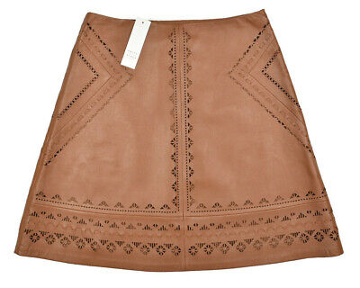 NWT~WHITE HOUSE BLACK MARKET Brown Leather Laser Cut A-Line Skirt Size 0 $398