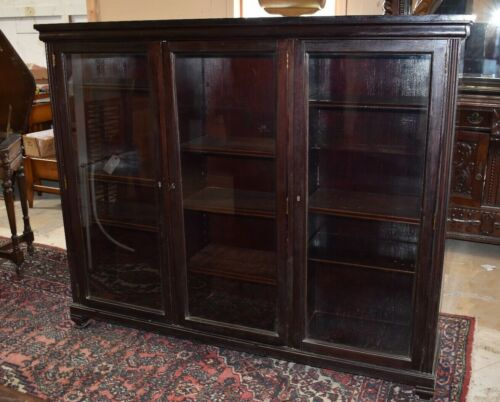 Antique Solid Mahogany Large Bookcase, Display Cabinet Cupboard