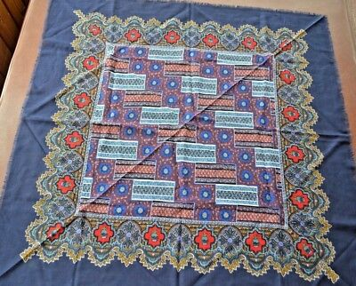 Huge signed Bill Blass scarf with blue background floral & geometric design