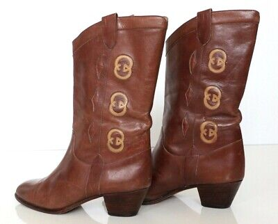 Vintage Gucci Boots GG 70s 80s Women's Brown Leather Boots sz 36 B 6 US