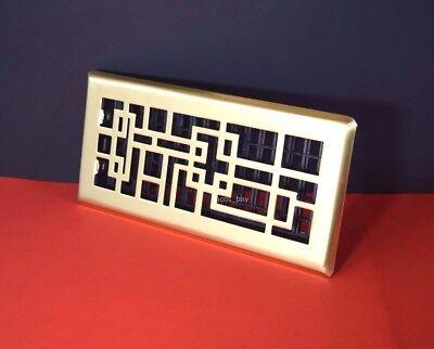 Decor-Grates-Floor-Register-Air-Vent-Oriental Abstract Satin Brass 2x12 inch Brass Decorative Floor Register Vent
