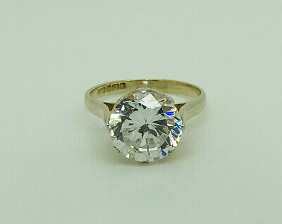 Dazzling Vintage 1992 Gold on Sterling Silver 3.8ct CZ Solitaire Ring Size K