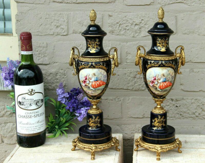 PAIR acf sevres porcelain romantic victorian scene Vases marked