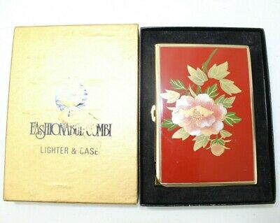 Vintage Cyma Cigarette Lighter, Case & Box Gold Tone Red Flower Art Japan Made