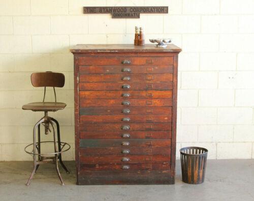 Vtg Antique Industrial Oak Wood Flat File Document Map Cabinet 14 Drawer 1910s