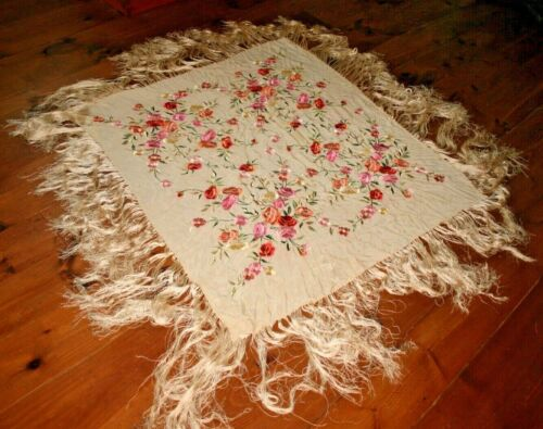 Antique Chinese Canton Piano Shawl Hand Embroidered Fringe Silk Embroidery #3