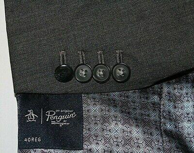 PENGUIN Men's 40R Gray 2B Surgeon Cuffs Wool Blazer Jacket