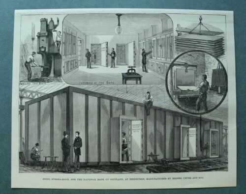 L1e%29+Holzstich+Edinburgh+1885+Bank+of+Scotland+Tresor+Steel+Strong+Room+25x20cm